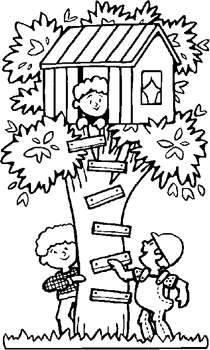 Free Kids Coloring Pages Boys In Treehouse