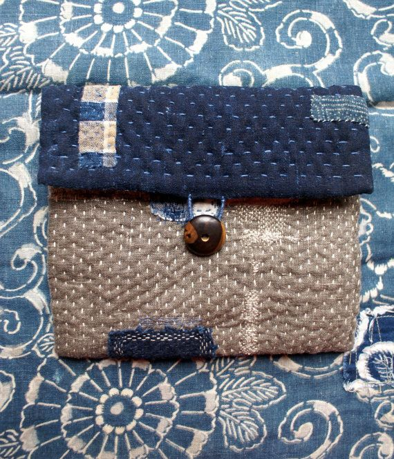 treasury :pouch/purse/wallet in linen vintage by lesamovar