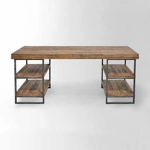 I feel like this Hewn Wood Desk from West Elm would make a great bar