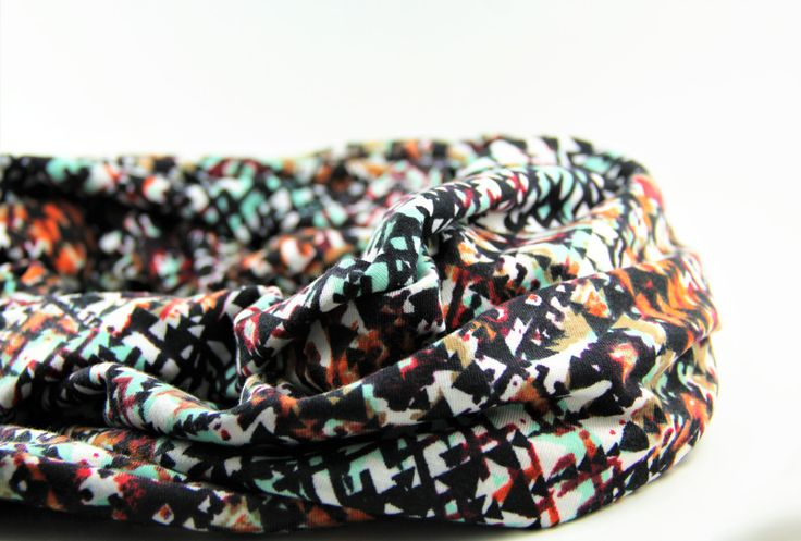 Jersey Knit Infinity Scarf with Multicolored Abstract Print - Fall Infinity Scarf with Rust Orange and Mint Green by theglassbird on Etsy