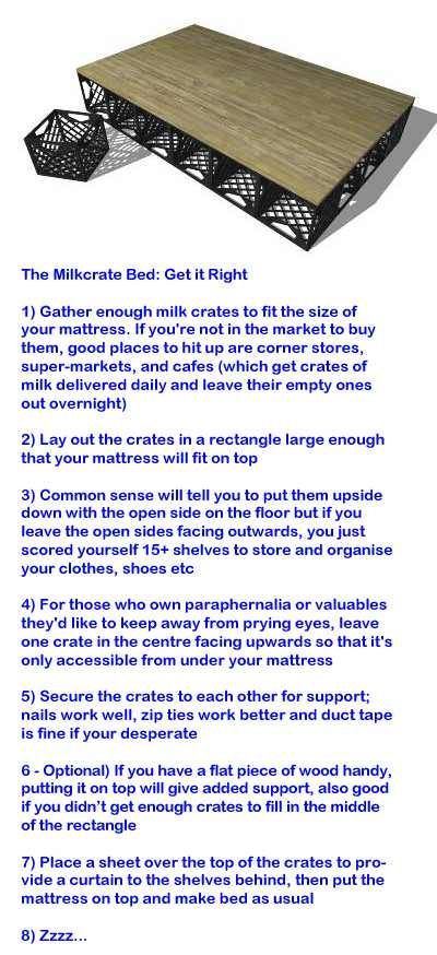The Milkcrate Bed: Mattress frame, closet & storage space for close ...