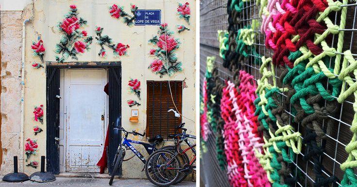 Cross-Stitch Street Art In Madrid by Raquel Rodrigo | Bored Panda