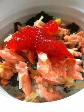 簡単*鮭とネギの丼