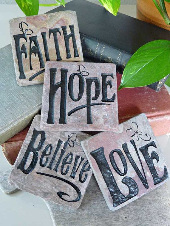 Faith Hope Love Believe Engraved Slate Accent by JustinRVisser