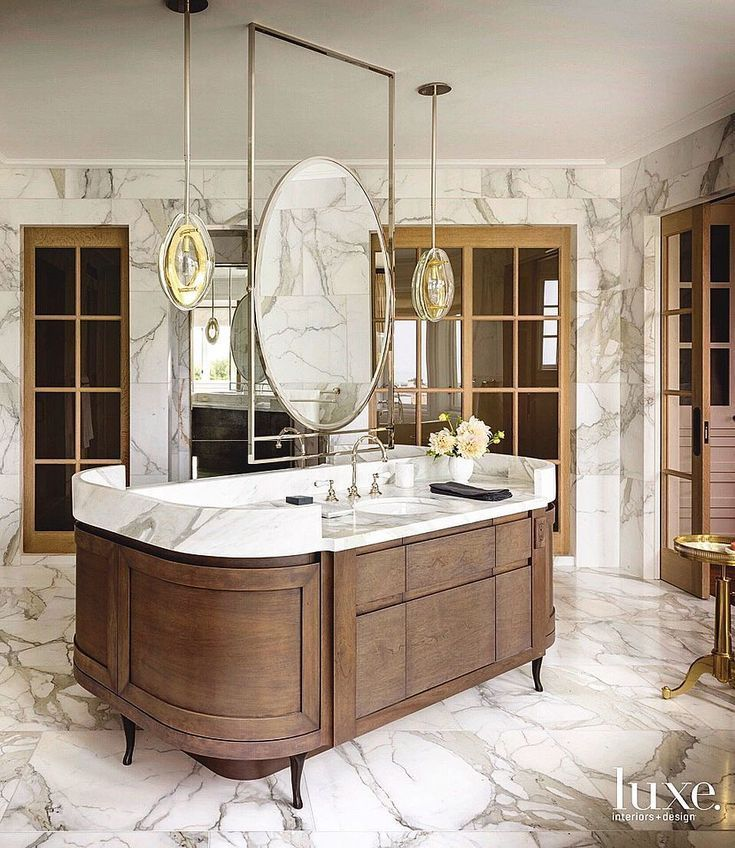 Bathroom With Unique Double Sink Vanity Floating In The Middle Of