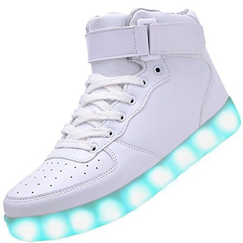 [Present:kleines Handtuch]Schwarz EU 42, Sneakers Couple Top Color JUNGLEST® Men Casual Unisex Sport Women LED-Licht weise Luminous High Charging 7 S