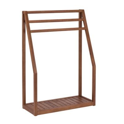 tiffiany and co Stained Teak Floor Towel Stand in Brown  BedBathandBeyond com