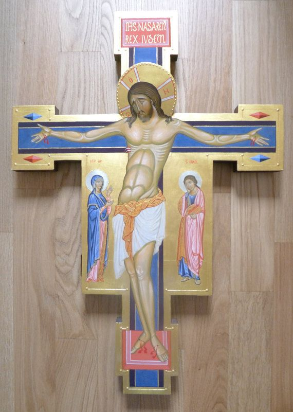 Jesus Christ crucified  Byzantine icon gold-ground di LidiasIcons
