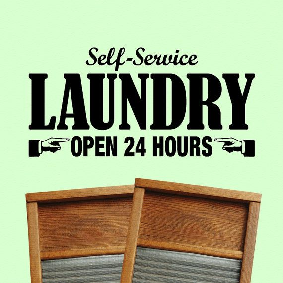 Laundry Room Sign  Self Service Open 24 Hours Laundry by Twistmo