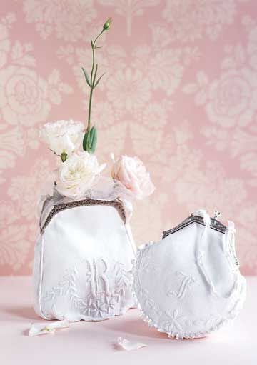 Purses made from linens are a thoughtful gift for bridesmaids and for carrying to the wedding reception.
