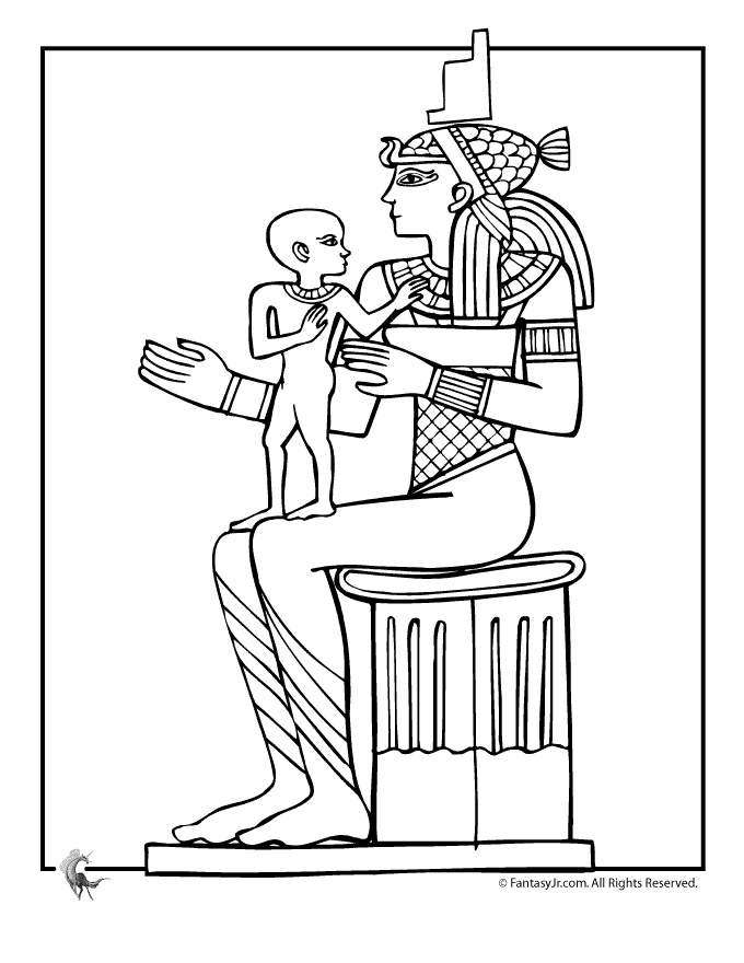 Ancient Egypt Coloring Pages Egyptian Queen and Child Coloring Page – Fantasy Jr.