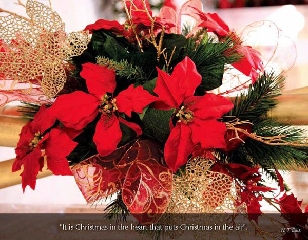 "Flowers & Gardens - 2016 Promotional Calendar  December 2016 - Christmas bouquet  ""It is Christmas in the heart that puts Christmas in the air""  W. T. Ellis"