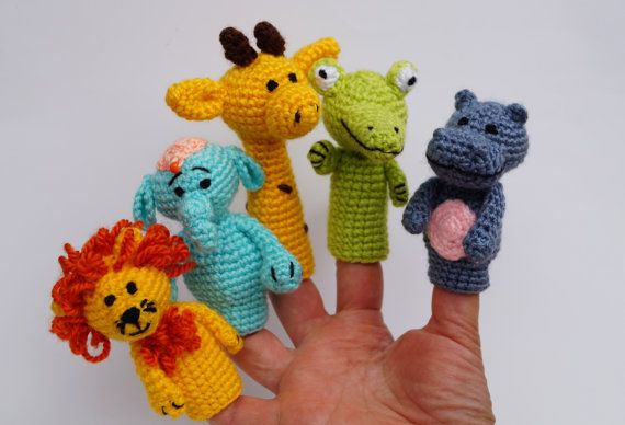 Crochet finger puppets, finger theatre, amigurumi play, theater finger toy, animals of africa, safari baby shower gift, toys for babies, Waldorf toy  Crochet Finger theater animals of africa are great gifts for kids. They are funny and amazing. Game with this amigurumi toys develops children's imagination. The set of finger puppets includes: - lion; - elephant; - giraffe; - crocodile; - hippo;   SIZE: The toy measures approximately 8 cm (3,14'') tall.