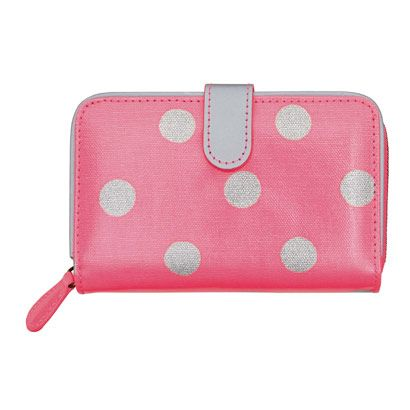 NEW neon pink reflector spot | Our bestselling wallet, with good reason. Plenty of room for cards, cash, and a couple of years' worth of receipts. | Button Spot Neon Folded Zip Wallet with Leather