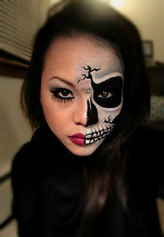 Half skeleton makeup, Halloween, wearing that to school!