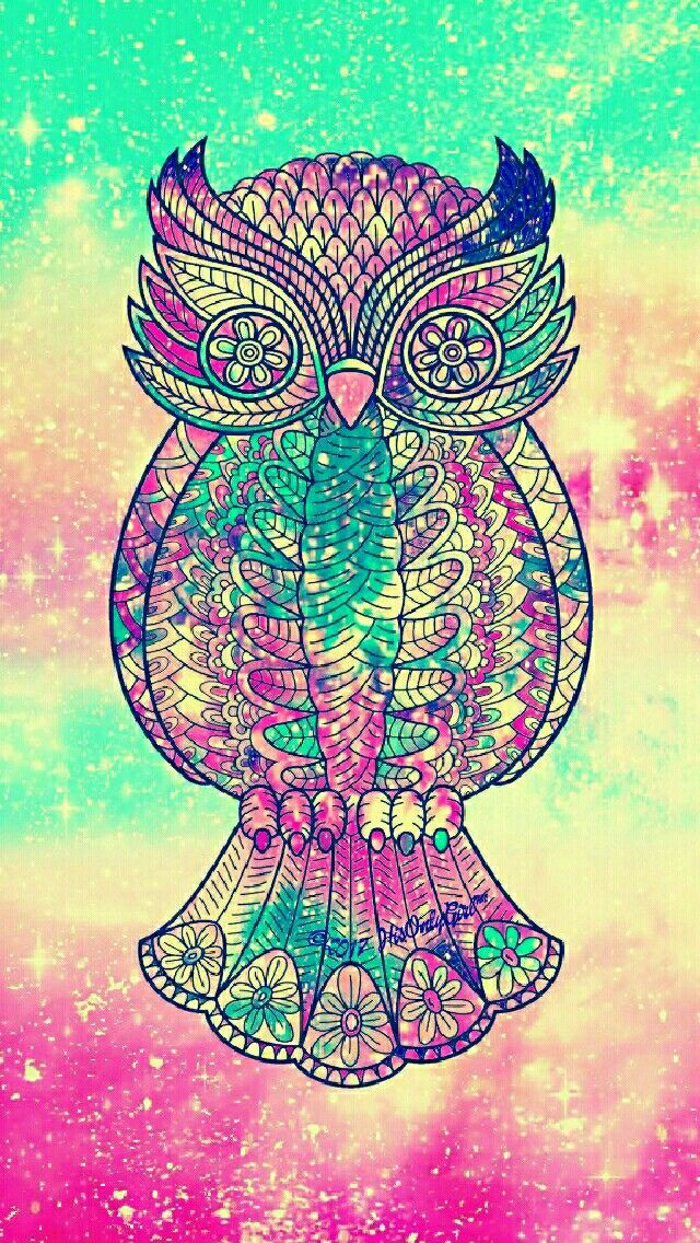 Vintage tribal owl galaxy iPhone/Android wallpaper I created for the app CocoPPa.