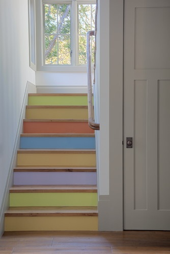 Pastel multi-colored painted stair risers