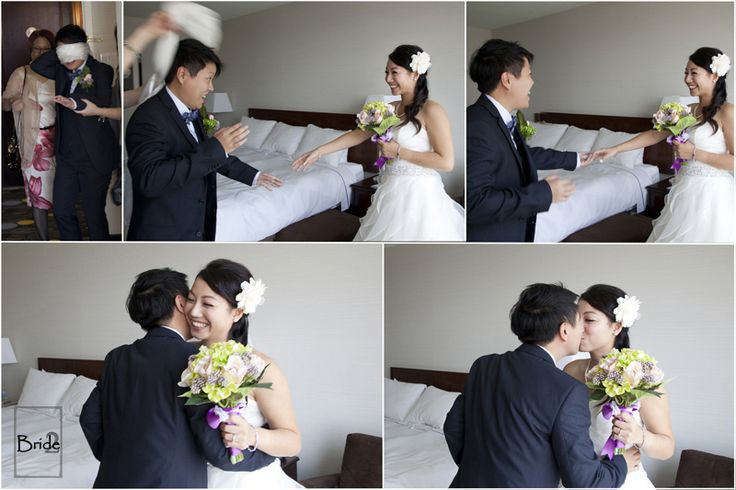 """I just love these adorable """"first look"""" shots from this Toronto Seaside wedding. Blindfolds are such a sweet idea!"""