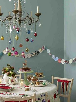 Vintage Christmas - love the paper ornament garland. Good fine motor activity to help the kids thread it!