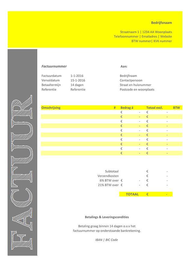 Deze factuur template / Excel sjabloon is gratis te downloaden via http://www.DIYbtwZZP.nl