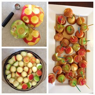 Apple Bites!!! Perfect little nibbles for dipping à la fondue with a variety of toppings [chocolate, caramel, nuts, candy, coconut]. #fall #party
