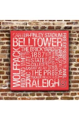 NC State College Colors Subway Art - 24 x 24 - Pretty good Father's day gift, too.