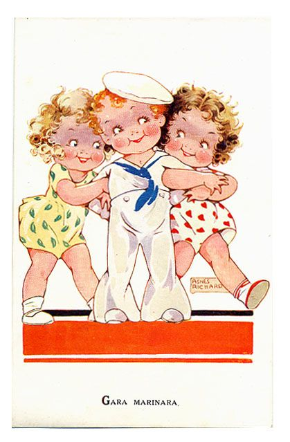 1935 agnes richardson sailor boy n girls postcard