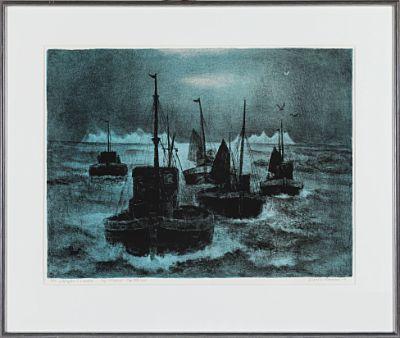 """KAARE ESPOLIN JOHNSON """"Skøyter, Lofoten"""" Blå versjon 1988"""