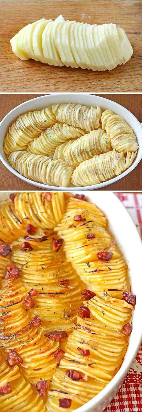 Crispy Potato Roast - bacon, healthy, potato, recipes, shallot, vegetable