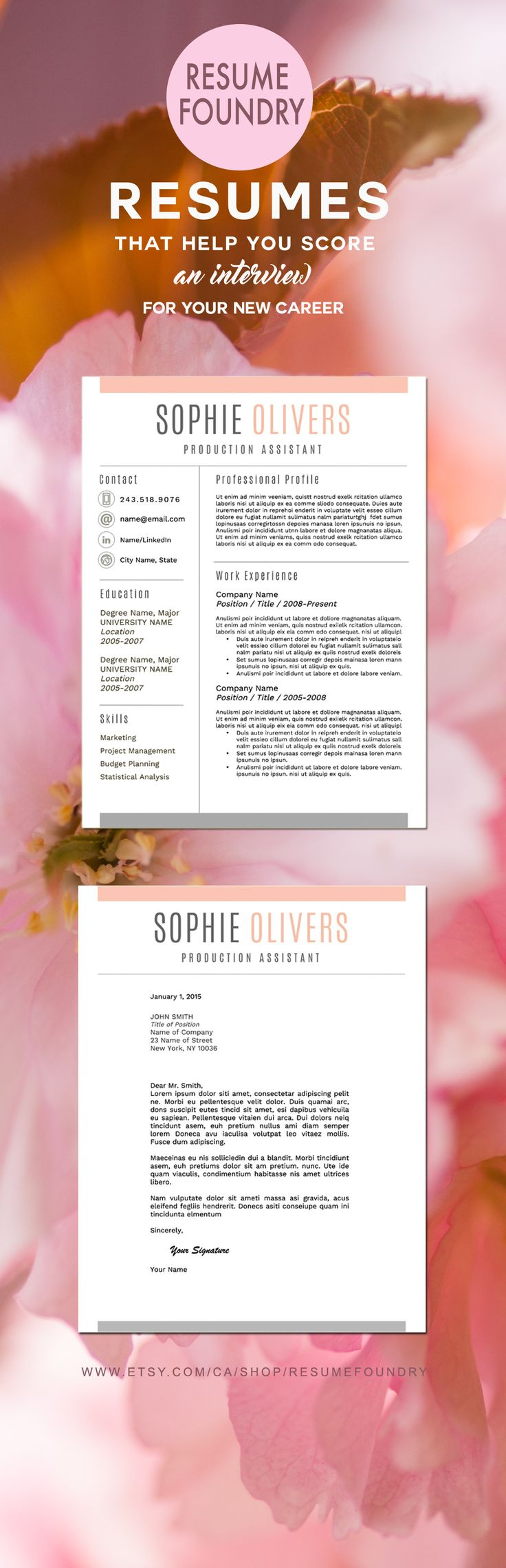 Best Resume Templates  Etsy Images On   Cover Letter