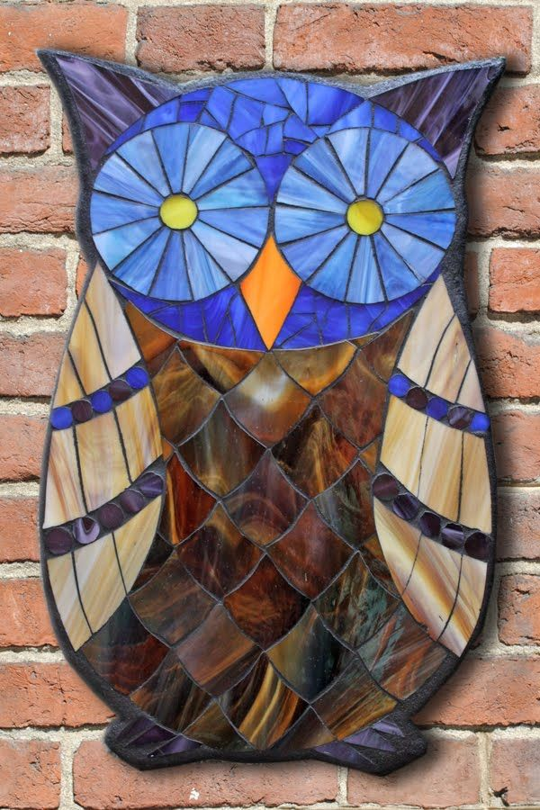 Student Work from a Kasia Mosaics Stained Glass Mosaic Owl Workshop - Owl Mosaic by Galina. Sign up for an All Level Class via www.kasiamosaics.com