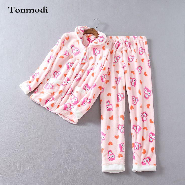 Women's Pajamas Winter Thickening Thermal Comfortable Flannel Sleep Ladies Pajama Set Cardigan Pijamas Mujer