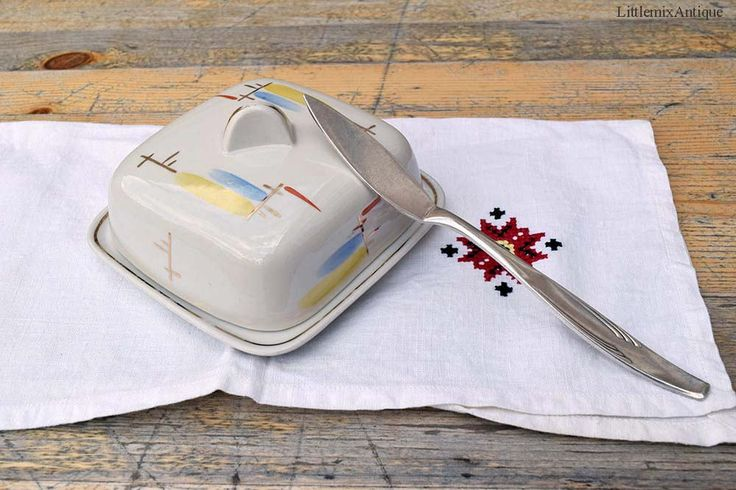 Vintage Soviet Era Riga Porcelain Factory Small Lidded Porcelain Butter Dish with Soviet Butter Knife Retro USSR Kitchenware Made in CCCP by LittlemixAntique on Etsy