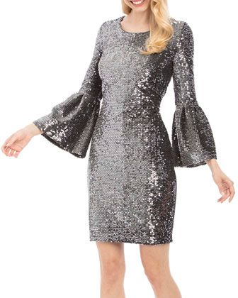 7590f2acfd9 Bell-Sleeve+Sequin+Sheath+Dress +by+Nicole+Miller+New+York+at+Neiman+Marcus+Last+Call.