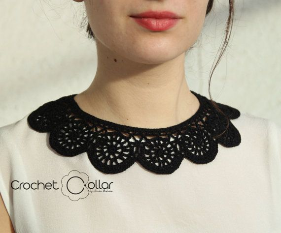 Black Peter Pan Crochet Collar by CrochetCollars on Etsy