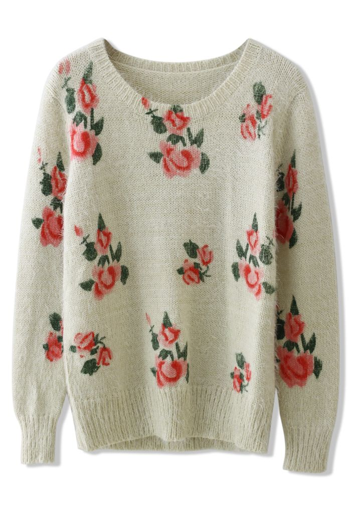 Adorable. Floral Print Sweater