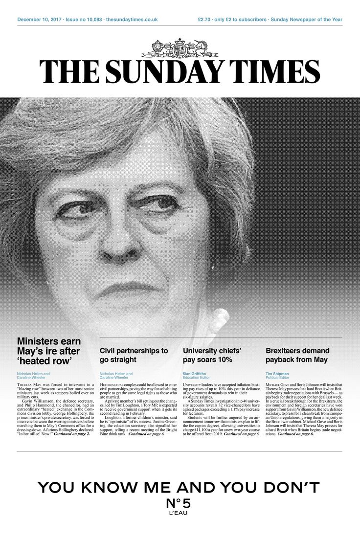 Sunday Times Re-Design Front Cover #newspaper #design #editorial #publishing