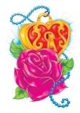 Heart Locket Rose Glitter Tattoo