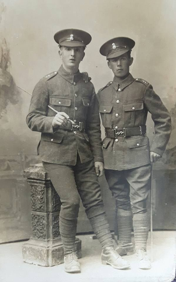 A studio photo postcard by L E Morris, Oswestry, of two unidentified Pte's Serving in the 1.7th (Merioneth & Montgomery) Battalion.