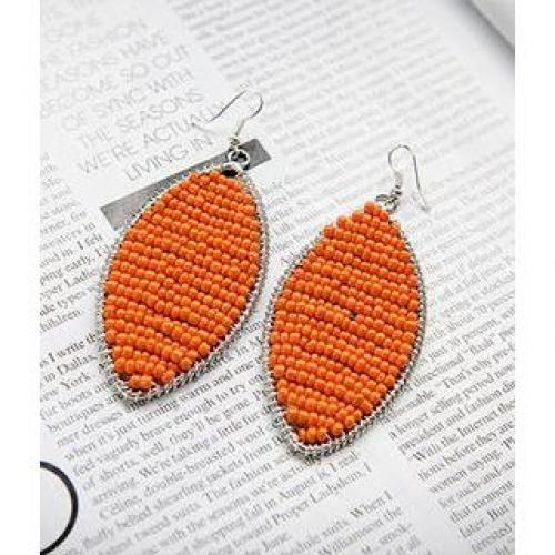 Beaded Oversized Drop Earrings Orange - One Size