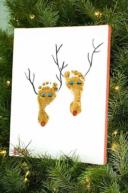"""Christmas card. This is the cutest Christmas card with your babies feet. """"Mistletoes"""""""
