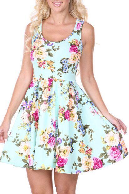 Mint Spring Floral Skater Dress