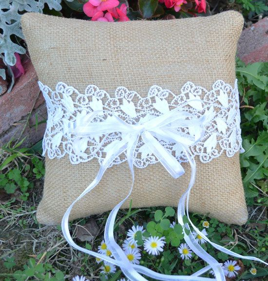 Burlap Lace Wedding Ring Bearer Pillow  READY TO by sherisewsweet, $22.00