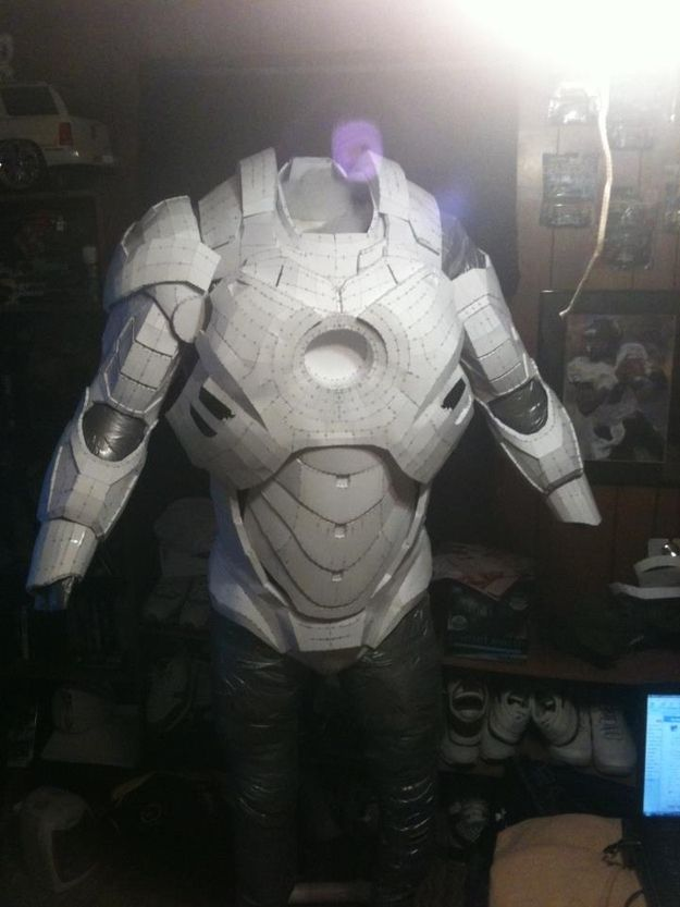 The Iron Man suit was made out of pepakura, which involved a lot of card stock and patience.