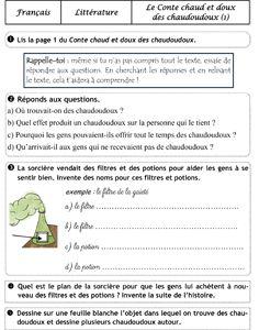 Le Conte chaud et doux des chaudoudoux - questionnaire
