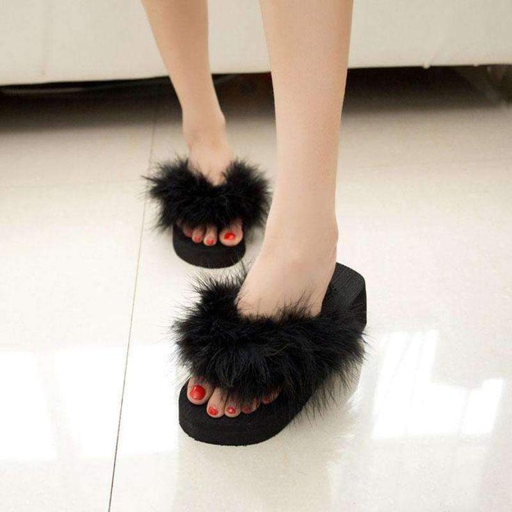 fur slippers women sandals chaussure femme beach flip flops  