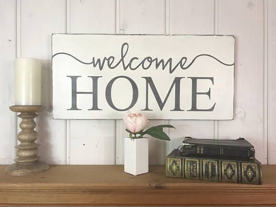 "Welcome home sign | rustic wood sign | home sweet home | welcome sign | entryway decor | 11.25"" x 24"""