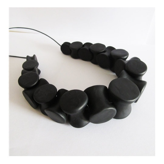 Black polymer clay necklace