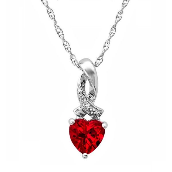 Heart Shape Created Ruby and Diamond Pendant-Necklace in Sterling... ($40) ❤ liked on Polyvore featuring jewelry, necklaces, sterling silver necklace, ruby necklace, ruby heart necklace, heart shaped diamond necklace and pendant necklace
