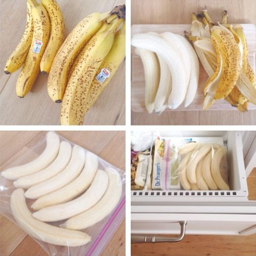 How to freeze bananas for smoothies and banana nicecream! #howto #lifehack